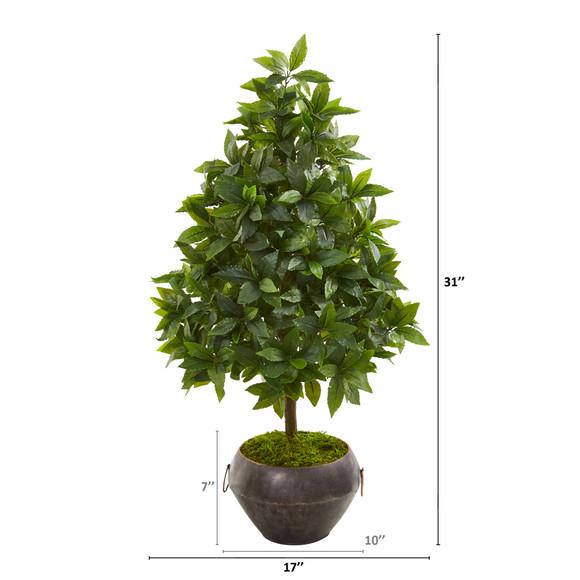 31 Sweet Bay Cone Topiary Artificial Tree in Metal Bowl - SKU #9928 - 1
