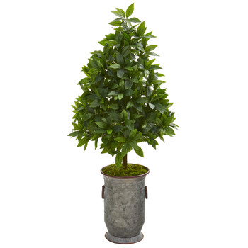 40 Sweet Bay Cone Topiary Artificial Tree in Vintage Metal Planter - SKU #9929