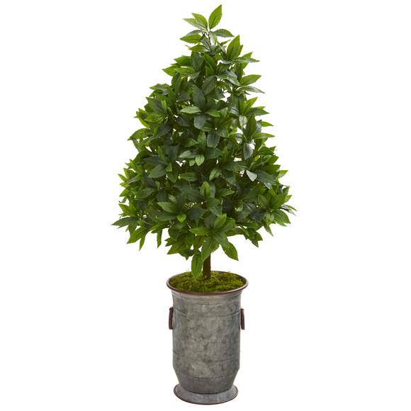 40 Sweet Bay Cone Topiary Artificial Tree in Vintage Metal Planter - SKU #9929
