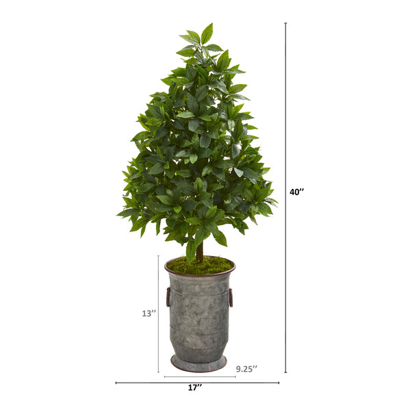 40 Sweet Bay Cone Topiary Artificial Tree in Vintage Metal Planter - SKU #9929 - 1