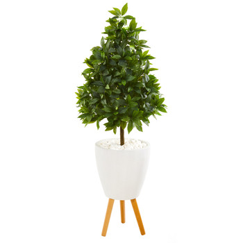 44 Sweet Bay Cone Topiary Artificial Tree in White Planter with Stand - SKU #9930