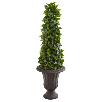40 Sweet Bay Cone Topiary Artificial Tree in Decorative Brown Urn - SKU #9931