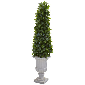 45 Sweet Bay Cone Topiary Artificial Tree in Decorative Gray Urn - SKU #9932