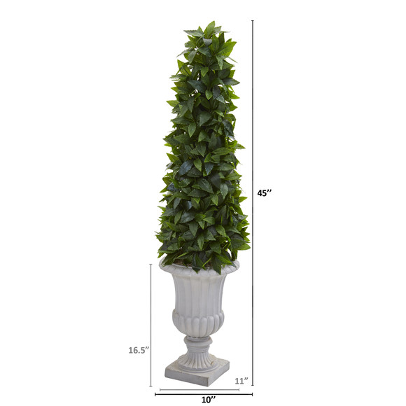 45 Sweet Bay Cone Topiary Artificial Tree in Decorative Gray Urn - SKU #9932 - 1
