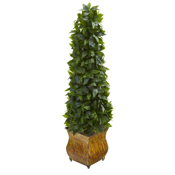 38 Sweet Bay Cone Topiary Artificial Tree in Decorative Metal Planter - SKU #9933
