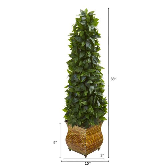 38 Sweet Bay Cone Topiary Artificial Tree in Decorative Metal Planter - SKU #9933 - 1