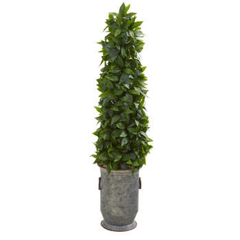 40 Sweet Bay Cone Topiary Artificial Tree in Vintage Metal Planter - SKU #9934