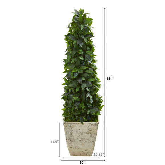 38 Sweet Bay Cone Topiary Artificial Tree in Country White Planter - SKU #9935 - 1
