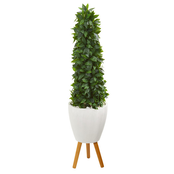4 Sweet Bay Cone Topiary Artificial Tree in White Planter with Stand - SKU #9936