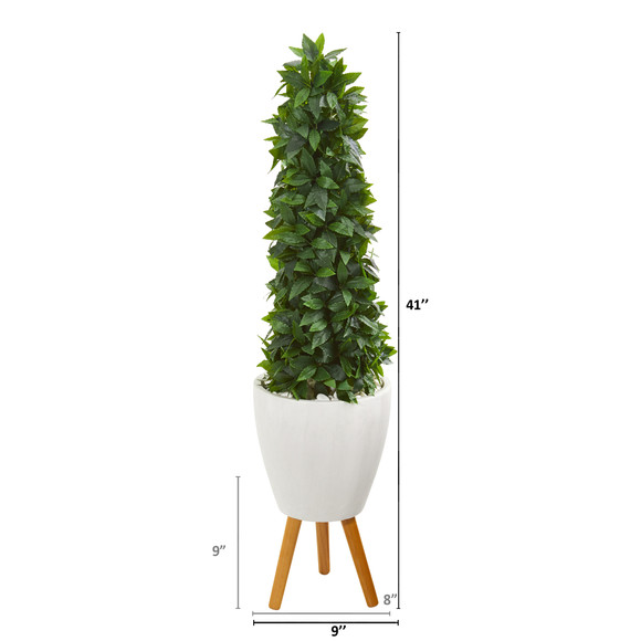 4 Sweet Bay Cone Topiary Artificial Tree in White Planter with Stand - SKU #9936 - 1