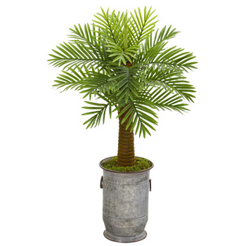 42 Robellini Palm Artificial Tree in Vintage Metal Planter - SKU #9938