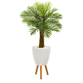48 Robellini Palm Artificial Tree in White Planter with Stand - SKU #9939