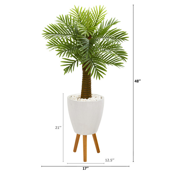 48 Robellini Palm Artificial Tree in White Planter with Stand - SKU #9939 - 1