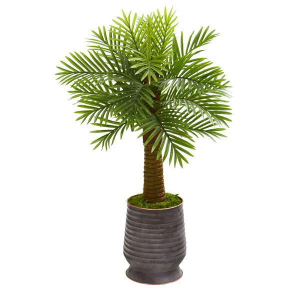 40 Robellini Palm Artificial Tree in Ribbed Metal Planter - SKU #9941