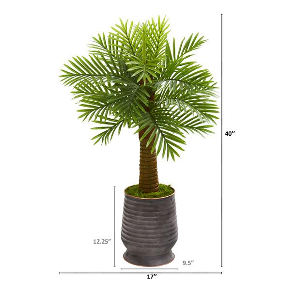 40 Robellini Palm Artificial Tree in Ribbed Metal Planter - SKU #9941 - 1