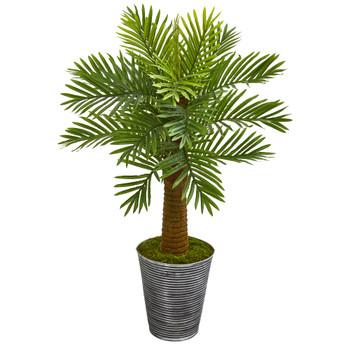 40 Robellini Palm Artificial Tree in Designer Tin Planter - SKU #9942