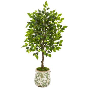 40 Mini Ficus Artificial Tree in Floral Planter - SKU #9944