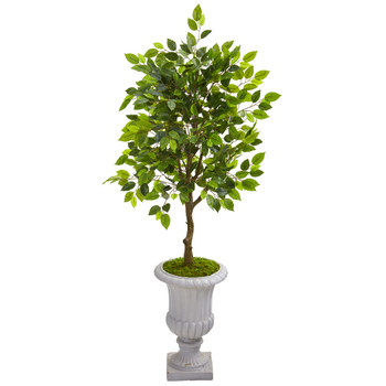 45 Mini Ficus Artificial Tree in Decorative Gray Urn - SKU #9945