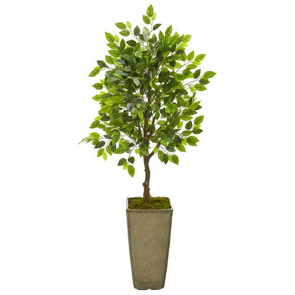 46 Mini Ficus Artificial Tree in Green Planter - SKU #9946