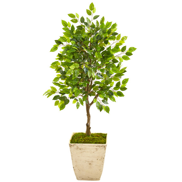 39 Ficus Artificial Tree in Country White Planter - SKU #9947
