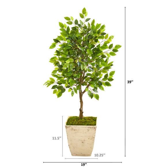 39 Ficus Artificial Tree in Country White Planter - SKU #9947 - 1