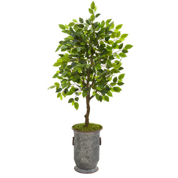 41 Ficus Artificial Tree in Vintage Metal Planter - SKU #9948