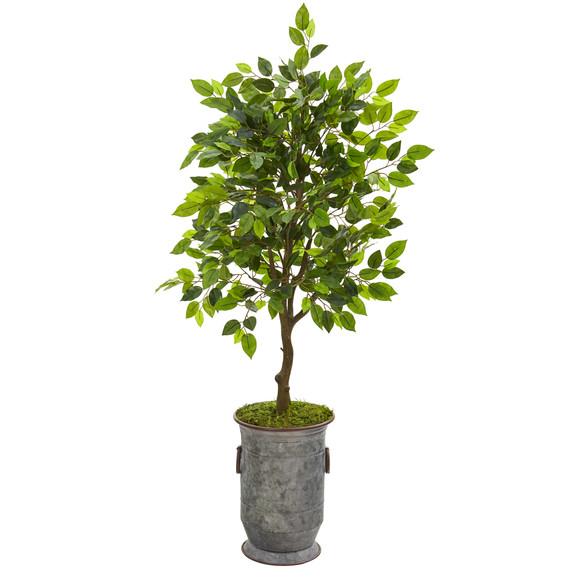 41 Ficus Artificial Tree in Vintage Metal Planter - SKU #9948