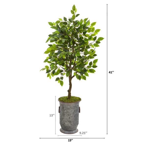 41 Ficus Artificial Tree in Vintage Metal Planter - SKU #9948 - 1