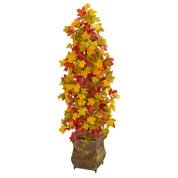 41 Autumn Maple Artificial Tree in Decorative Metal Planter - SKU #9949