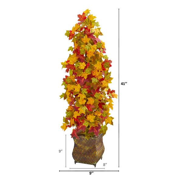 41 Autumn Maple Artificial Tree in Decorative Metal Planter - SKU #9949 - 1