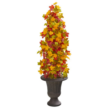 47 Autumn Maple Artificial Tree in Decorative Brown Urn - SKU #9950