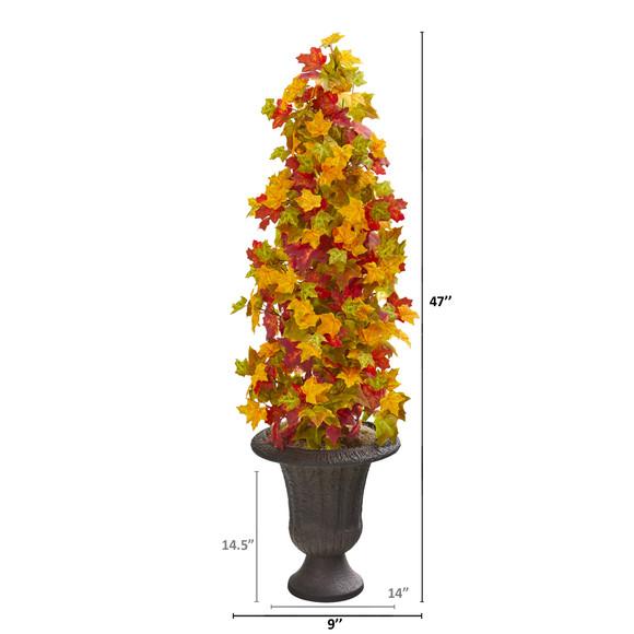 47 Autumn Maple Artificial Tree in Decorative Brown Urn - SKU #9950 - 1