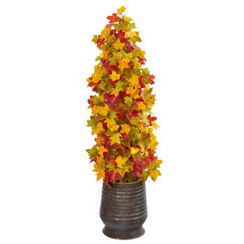 43 Autumn Maple Artificial Tree in Ribbed Metal Planter - SKU #9951