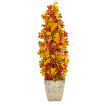 40 Autumn Maple Artificial Tree in Country White Planter - SKU #9953