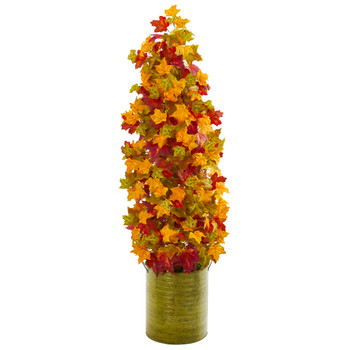41 Autumn Maple Artificial Tree in Green Metal Planter - SKU #9954