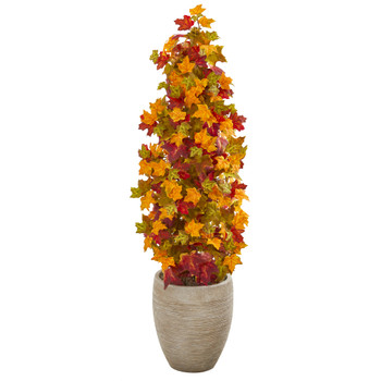 42 Autumn Maple Artificial Tree in Sand Colored Planter - SKU #9955