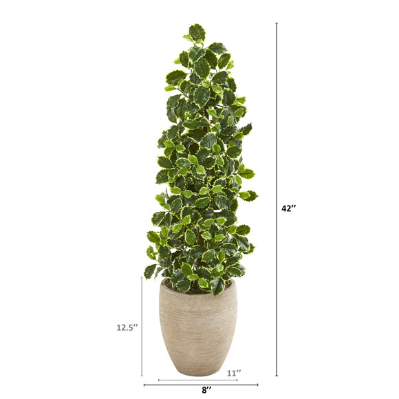 42 Variegated Holly Leaf Artificial Tree in Sand Colored Planter Real Touch - SKU #9956 - 1