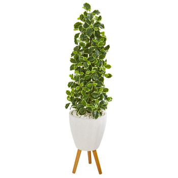 51 Variegated Holly Leaf Artificial Tree in White Planter with Stand Real Touch - SKU #9957