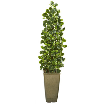 47 Variegated Holly Leaf Artificial Tree in Green Planter Real Touch - SKU #9958