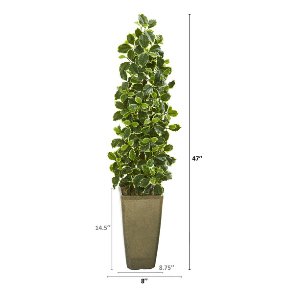 47 Variegated Holly Leaf Artificial Tree in Green Planter Real Touch - SKU #9958 - 1
