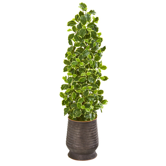 43 Variegated Holly Leaf Artificial Tree in Ribbed Metal Planter Real Touch - SKU #9959
