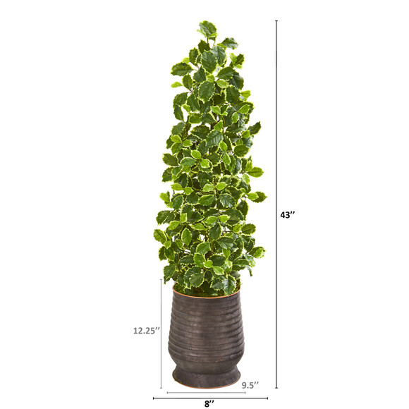 43 Variegated Holly Leaf Artificial Tree in Ribbed Metal Planter Real Touch - SKU #9959 - 1