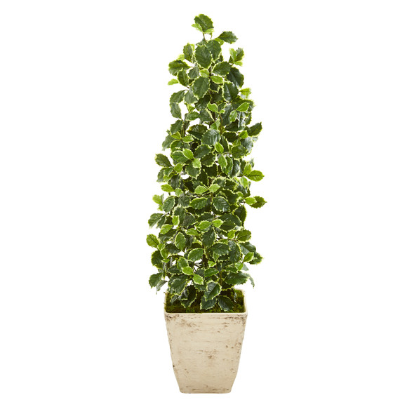 41 Variegated Holly Leaf Artificial Tree in Country White Planter Real Touch - SKU #9960