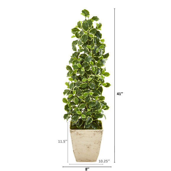 41 Variegated Holly Leaf Artificial Tree in Country White Planter Real Touch - SKU #9960 - 1