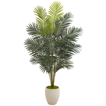 63 Paradise Palm Artificial Plant in Sand Colored Planter - SKU #9961