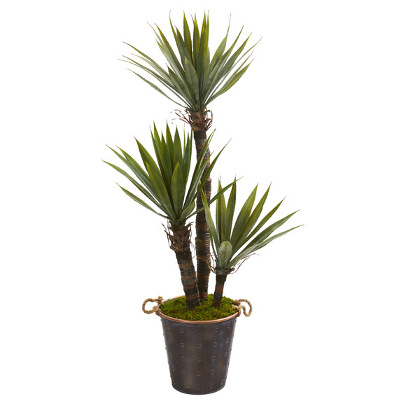 53 Yucca Artificial Tree in Decorative Metal Pail with Rope - SKU #9962