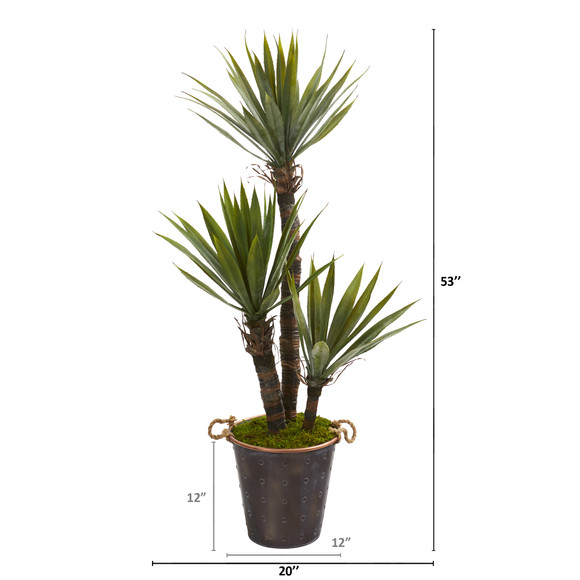 53 Yucca Artificial Tree in Decorative Metal Pail with Rope - SKU #9962 - 1