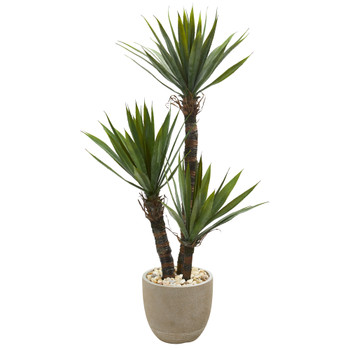 56 Yucca Artificial Tree in Sandstone Planter - SKU #9963