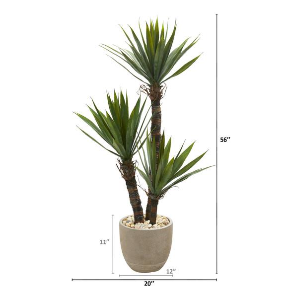 56 Yucca Artificial Tree in Sandstone Planter - SKU #9963 - 1