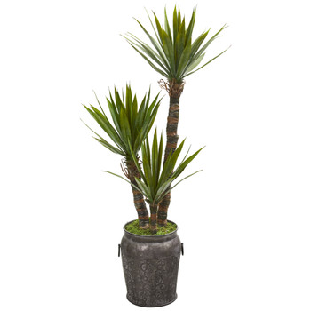 54 Yucca Artificial Tree in Metal Planter - SKU #9964